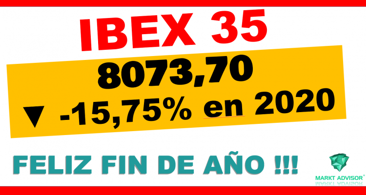 IBEX 35 cierra 2020 en 8073.70 puntos cediendo -15,75% en el año