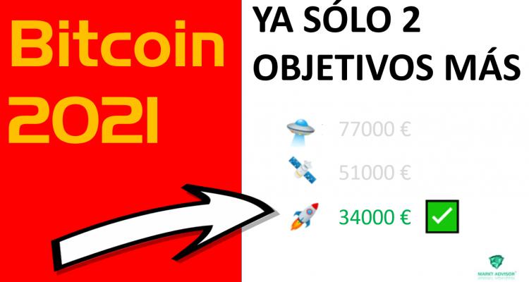 BITCOIN 2021 PREDICCIÓN: YA EN 34000€, PRIMER OBJETIVO CONSEGUIDO